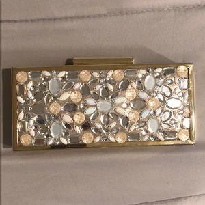 International Concept (INC) Gold Beaded Box Clutch